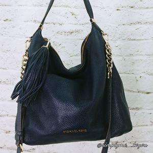 Michael Kors Navy Pebbled Leather Tassel Bag